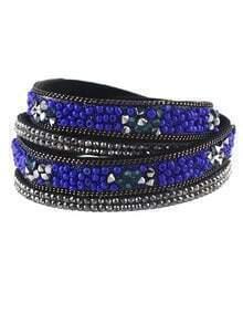 Blue Beads Multilayers Women Wrap Bracelet Jewelry