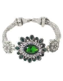 Green Rhinestone Flower Women Stone Bracelet
