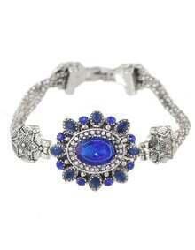 Blue Rhinestone Flower Bracelet