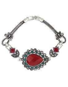 Red Rhinestone Atsilver Women Stone Bracelet
