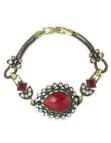 Red Rhinestone Atgold Women Stone Bracelet