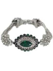 Vintage Style Silver Plated Chain Green Rhinestone Evil Eye Ladies Bracelet Models
