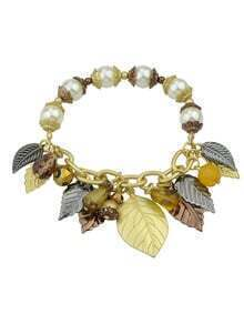 Latest Design Leaf Shape Charms Adjustable Imitation Pearl Bracelet