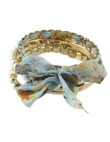 Bohemian Style Trendy Imitation Pearl Braided Wrap Bracelet Bangle Sets