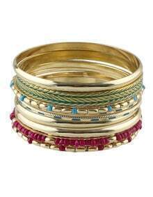 Bohemian Style Colorful Beads Wide Bracelet and Bangle Sets