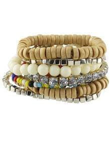 Beige Stretch Colorful Beads Bracelet and Bangle