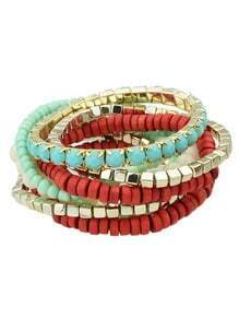 Red Stretch Colorful Beads Bracelet and Bangle