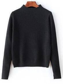 Black Mock Neck Split Cuff Crop Knitwear