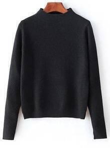 Suéter cuello mock puño con abertura crop -negro