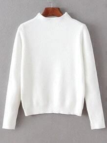 White Mock Neck Split Cuff Crop Knitwear