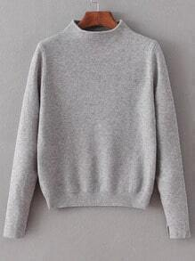 Grey Mock Neck Split Cuff Crop Knitwear