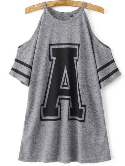 Cold Shoulder Varsity Print Tshirt