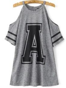 Grey Cold Shoulder A Print Loose T-Shirt