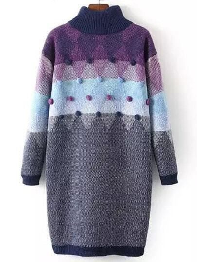 Purple Grey Mock Neck Twisted Ball Sweater Dress