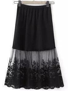 Black Sheer Mesh Leaves Embroidered Skirt