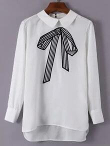 White Long Sleeve Bow Print Dip Hem Blouse