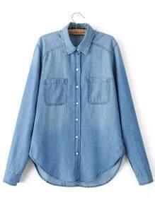 Blue Long Sleeve Pockets Denim Blouse