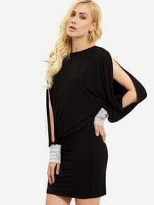 Black Split Sleeve Cut Out Back Embellished Dress