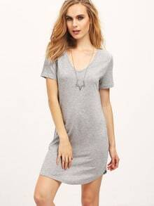Grey Scoop Neck Tshirt Dress