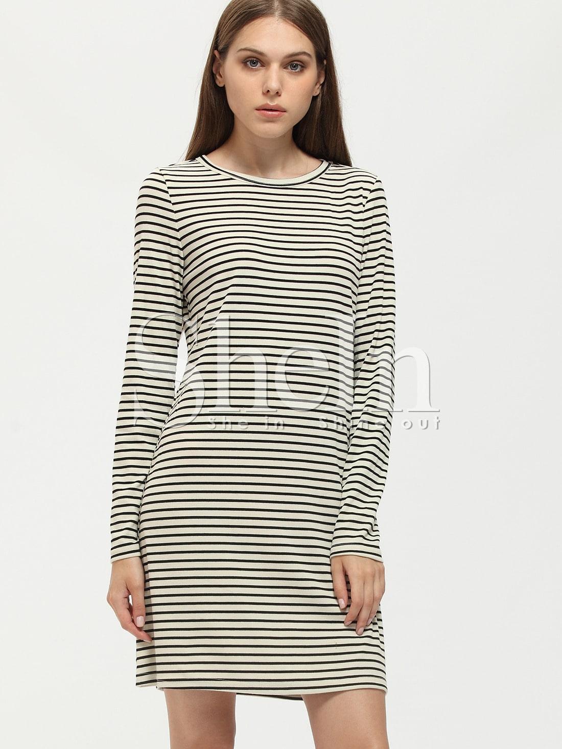 Black and White Striped Crew Neck Tshirt Dress