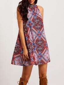 Folk Print Sleeveless Cut Out Back Dress
