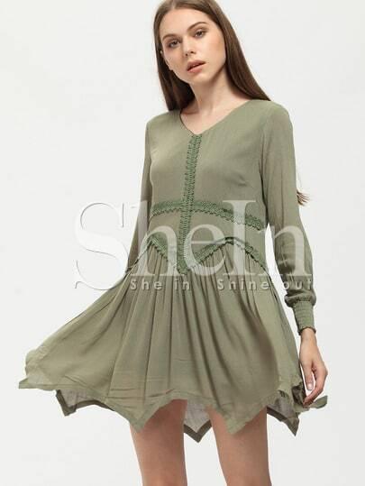 Green Elastic Cuff Asymmetric Dress