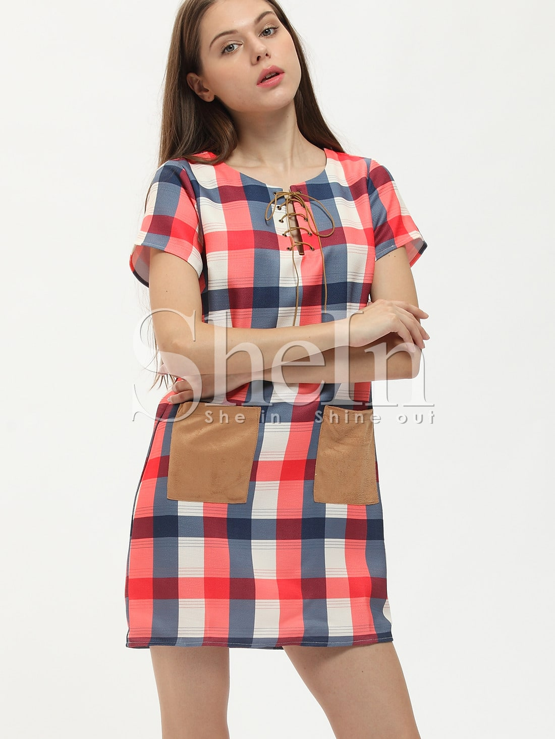 Buy Red Plaid Lace Neck Contrast Pockets Dress