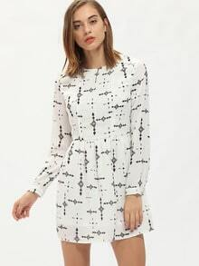 White Crew Neck Folk Print A Line Dress