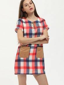 Red Plaid Lace Up Neck Contrast Pockets Dress