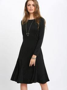 Black Crew Neck Shift Dress