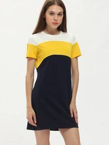 Navy Crew Neck Color Block Dress