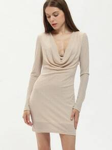 Apricot Cowl Neck Bodycon Dress