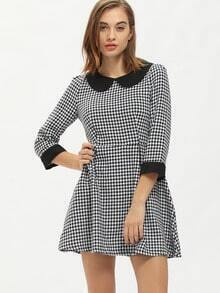 White Peter Pan Collar Houndstooth Pouf Dress