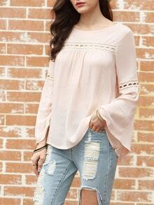 Pink Bell Sleeve Eyelet Blouse