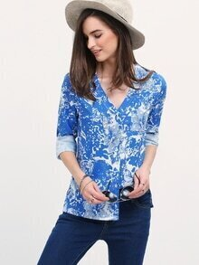 Blue Deep V Neck Floral Dip Hem Blouse