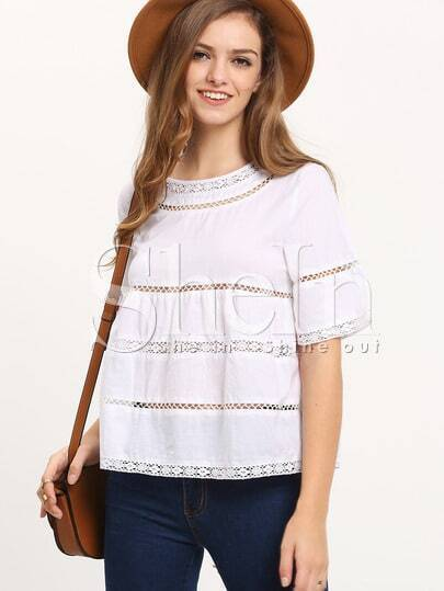 White Eyelet Lace Hem Blouse