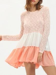Pink Color Block Crew Neck Flounce Blouse