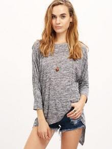 Grey Crew Neck Loose T-Shirt