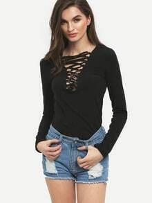 Black Lace Up Neck Slim T-Shirt