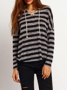 Grey Striped Hooded Lace Up Neck T-Shirt