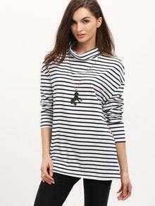 White Striped High Neck T-Shirt