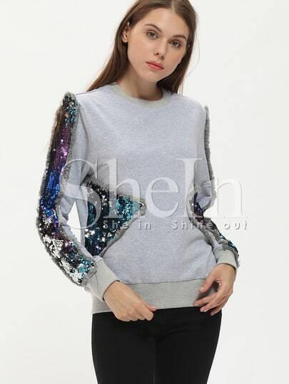 Grey Crew Neck Contrast Sequined Sweatshirt