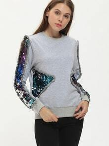 Grey Crew Neck Contrast Sequined Sweatshirt