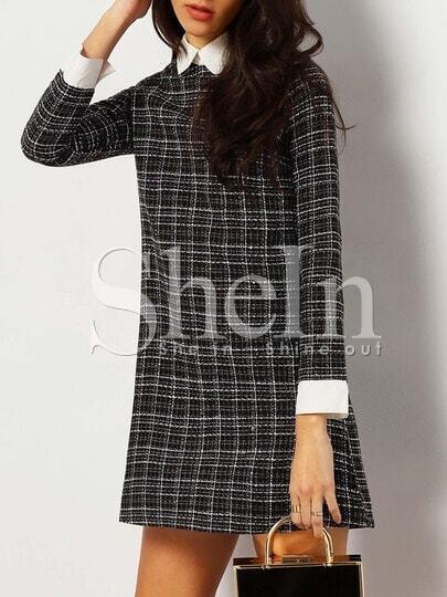 Black Plaid Contrast Collar And Cuff Tweed Dress