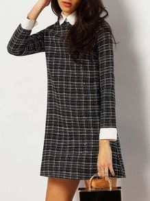Black Plaid Contasst Collar And Cuff Tweed Dress
