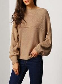 Brown Boat Neck Batwing Sleeve Eyelet Sweater