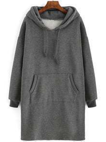Grey Drawstring Hooded Pockets Sweatshirt Dress