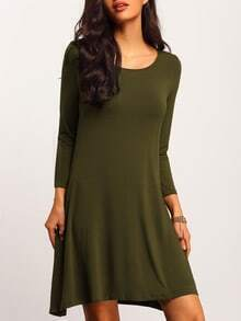 Army Green Scoop Neck Pockets Tshirt Dress