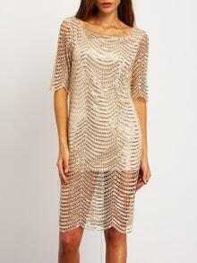 Gold Half Sleeve Hollow U Back Dress