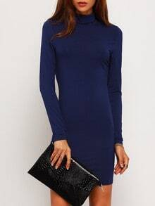 Navy Long Sleeve High Neck Bodycon Dress